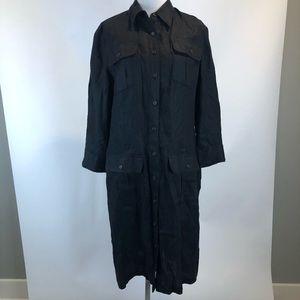 Ralph Lauren Black Linen Shirt Dress SZ 10